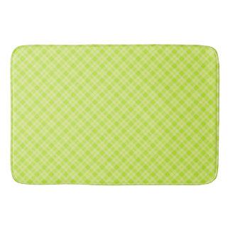 Bright green plaid bath mat
