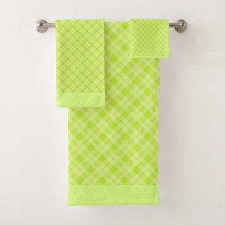 Bright green plaid bath towel set