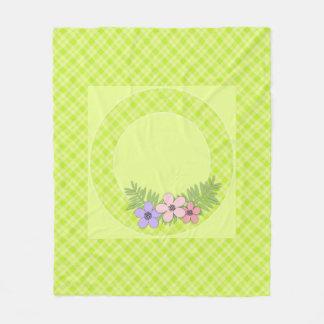Bright green plaid fleece blanket