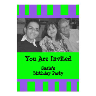 Bright Green Purple Striped Party Custom Announcements