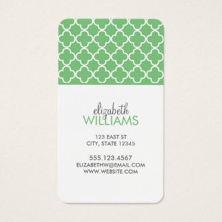 Bright Green Quatrefoil Pattern Business Card
