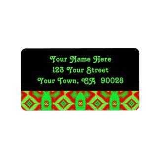 bright green red pattern address label