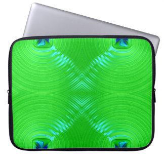 Bright green ripple 4 laptop computer sleeve