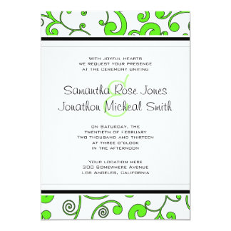 Bright Green Scroll Wedding Invitation