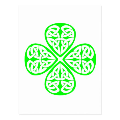 bright green shamrock celtic knot post cards
