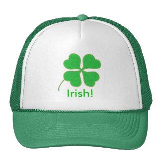 Bright Green Shamrock Gold Dots Trim, Irish hat