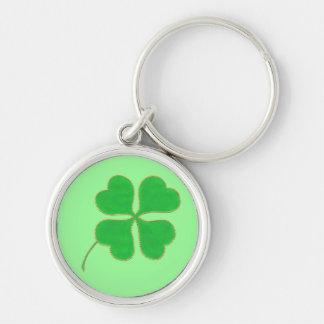 Bright Green Shamrock gold dots trim, keychain