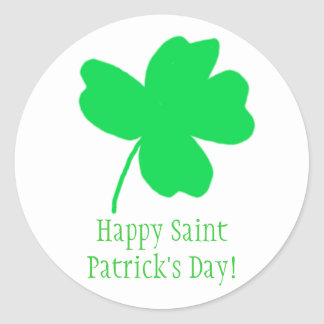 Bright Green Shamrock Happy Saint Patricks Sticker