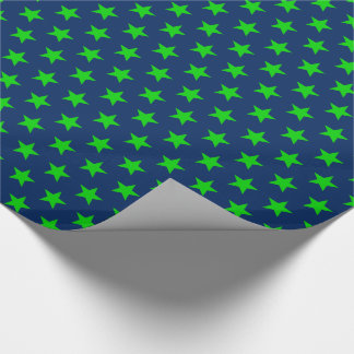 Bright Green Stars on Navy Blue Wrapping Paper