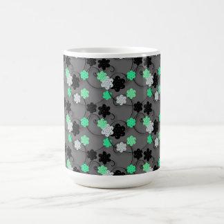 Bright Green white and Black Floral Print Mug