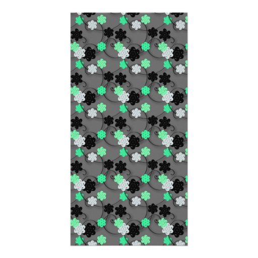Bright Green, white and Black Floral Print Personalized Photo Card