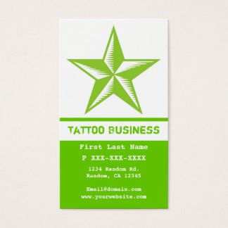 Bright green white tattoo star business cards