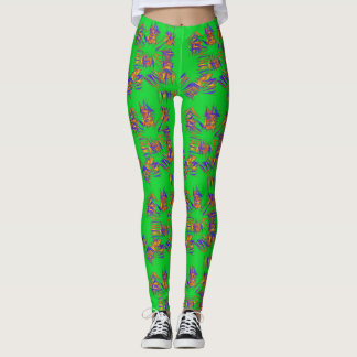 Bright Green with Squiggles Leggings
