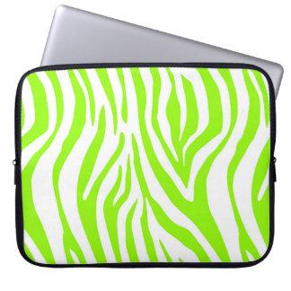 Bright Green Zebra Animal Print Pattern Laptop Sleeve