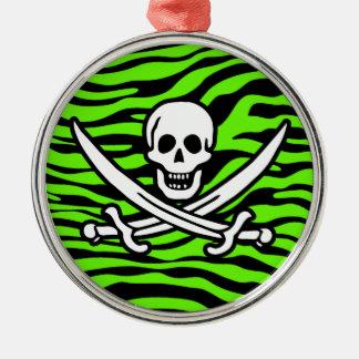 Bright Green Zebra Animal Print Pirate Ornament