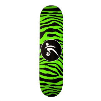Bright Green Zebra Stripes; Soccer Custom Skate Board