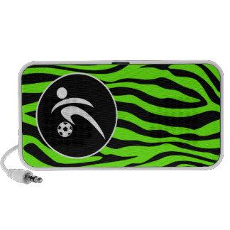 Bright Green Zebra Stripes; Soccer iPod Speakers