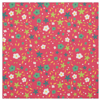Bright Greens and Red Cute Ditsy Floral Pattern Fabric