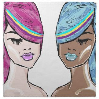 Bright Hair Model Sketch Cloth Napkins