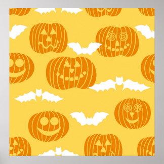 Bright Halloween Pumpkin Bat Design Print