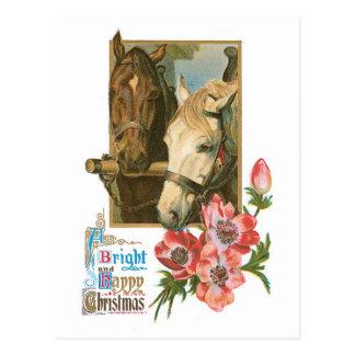 Bright Happy Christmas - Vintage Horses Postcard