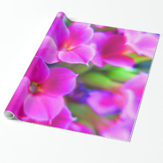 Bright Happy Kalanchoe Flowers Pink Magenta Purple Wrapping Paper