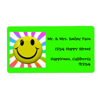 Bright Happy Smiley Face Labels