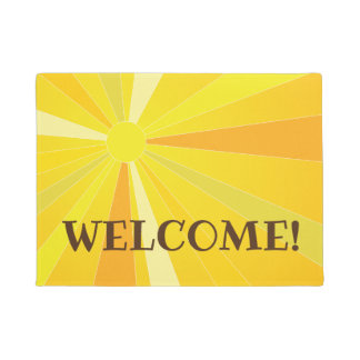 Bright happy sunshine welcome doormat