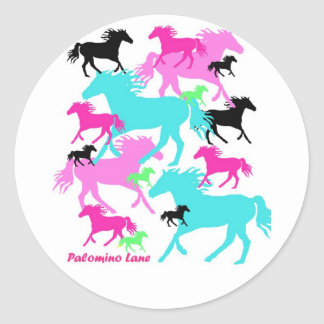 Bright Horses Round Sticker