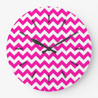 Bright Hot Pink Chevrons Clock