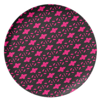 Bright Hot Pink Lace Style Pattern Plate