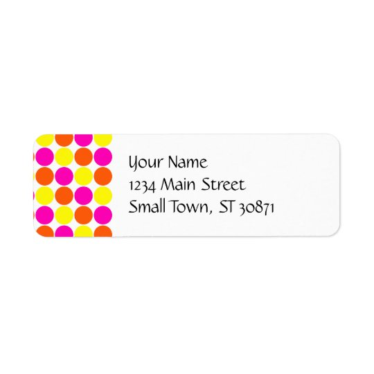 Bright Hot Pink Orange Yellow Polka Dots Pattern Return Address Label