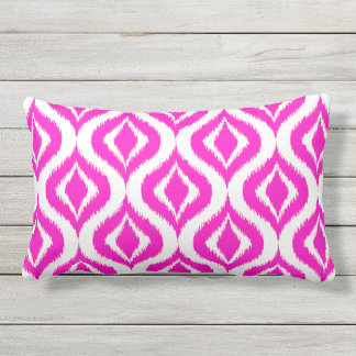 Bright Hot Pink Retro Chic Ikat Drops Pattern Outdoor Cushion