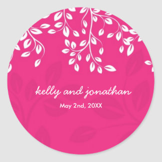 Bright Hot Pink Wedding Stickers
