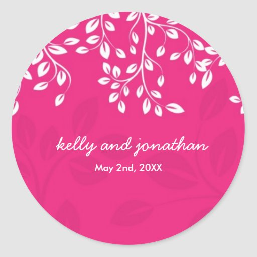 Bright Hot Pink Wedding Stickers