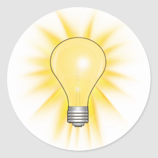 Bright Idea Light Bulb Classic Round Sticker