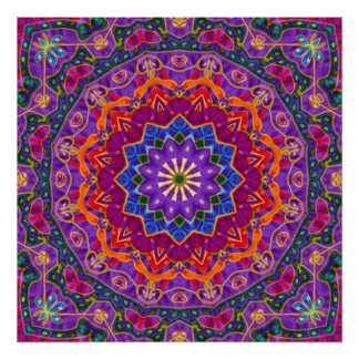 Bright India Mandala Poster