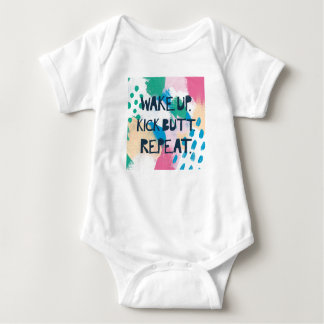 Bright Inspiration IV | Wake Up Kick Butt Repeat Baby Bodysuit