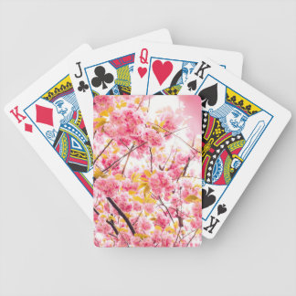 Bright Japanese Pink Cherry Blossoms Sakura Bicycle Playing Cards