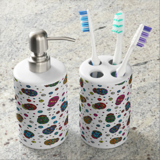 Bright jeans blue mexican floral skull pattern soap dispenser