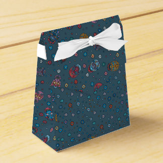 Bright jeans blue mexican floral skull pattern wedding favour box