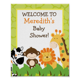 Bright Jungle Safari Animals 8x10 Sign