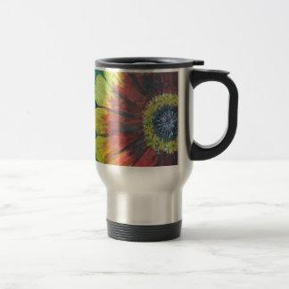 Bright large flower design travel mug