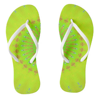 Bright Lemon Lime Neon Pop Mandala Thongs
