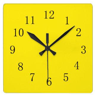 Bright Lemon Yellow Square Wall Clock