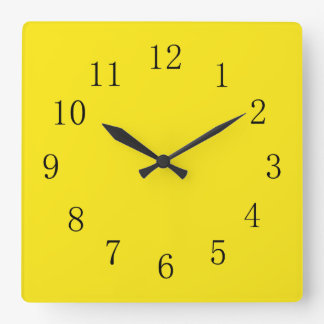 Bright Lemon Yellow Wall Clocks