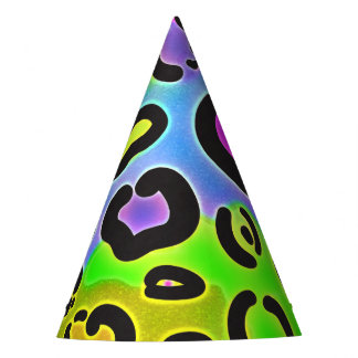 Bright Leopard Cheetah Print Jungle Birthday Party Party Hat