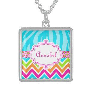 Bright Leopard Zebra Print Chevron Monogram Name Sterling Silver Necklace