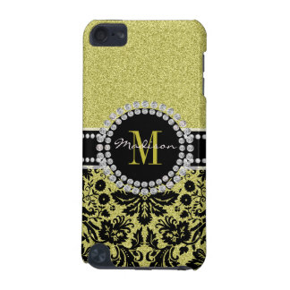Bright light gold glitter Damask, Name & Monogram iPod Touch 5G Case