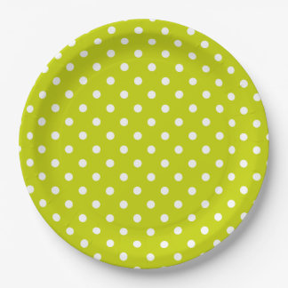 Bright Lime Green and White Polka Dot 9 Inch Paper Plate